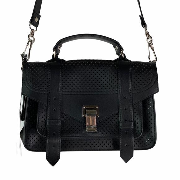 Proenza Schouler PS1 Tiny Perforated Black Bag